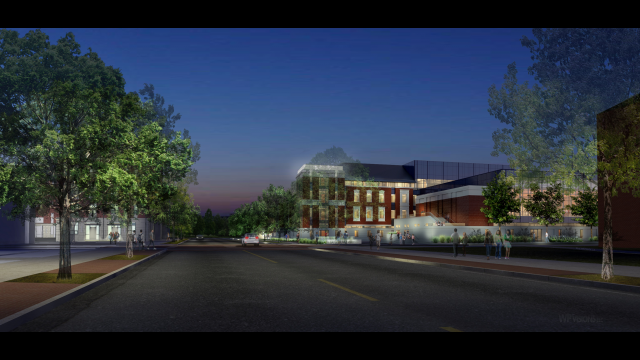 Foster Campus rendering NE entry