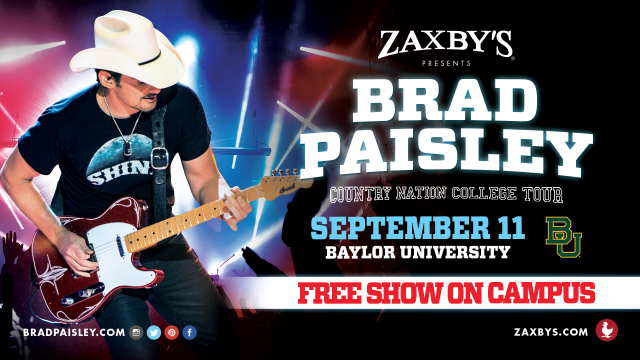 Details Announced about Brad Paisley's Country Nation College Tour Presented By Zaxby's