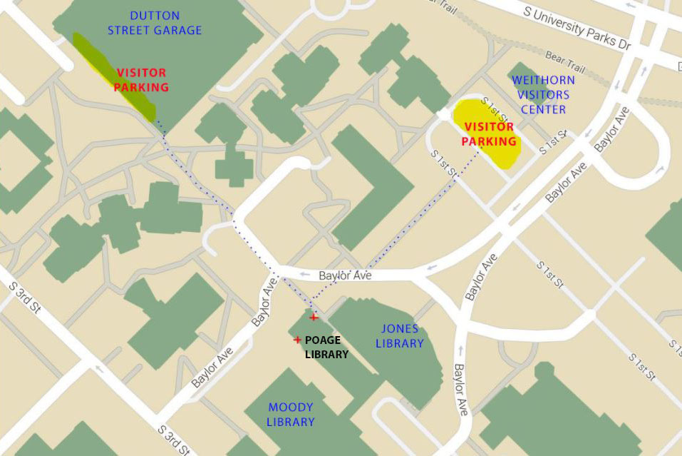 Map with parking at Poage Library