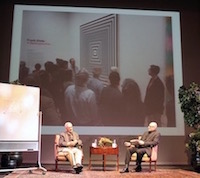 A photo of the stage that Jason Kaufman and Frank Stella presented from