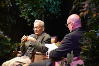 Photo of Jason Kaufman and Frank Stella sitting on chairs on stage during a discussion