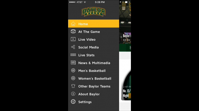 Baylor In-Game App menu