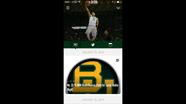 Baylor In-Game App news screen