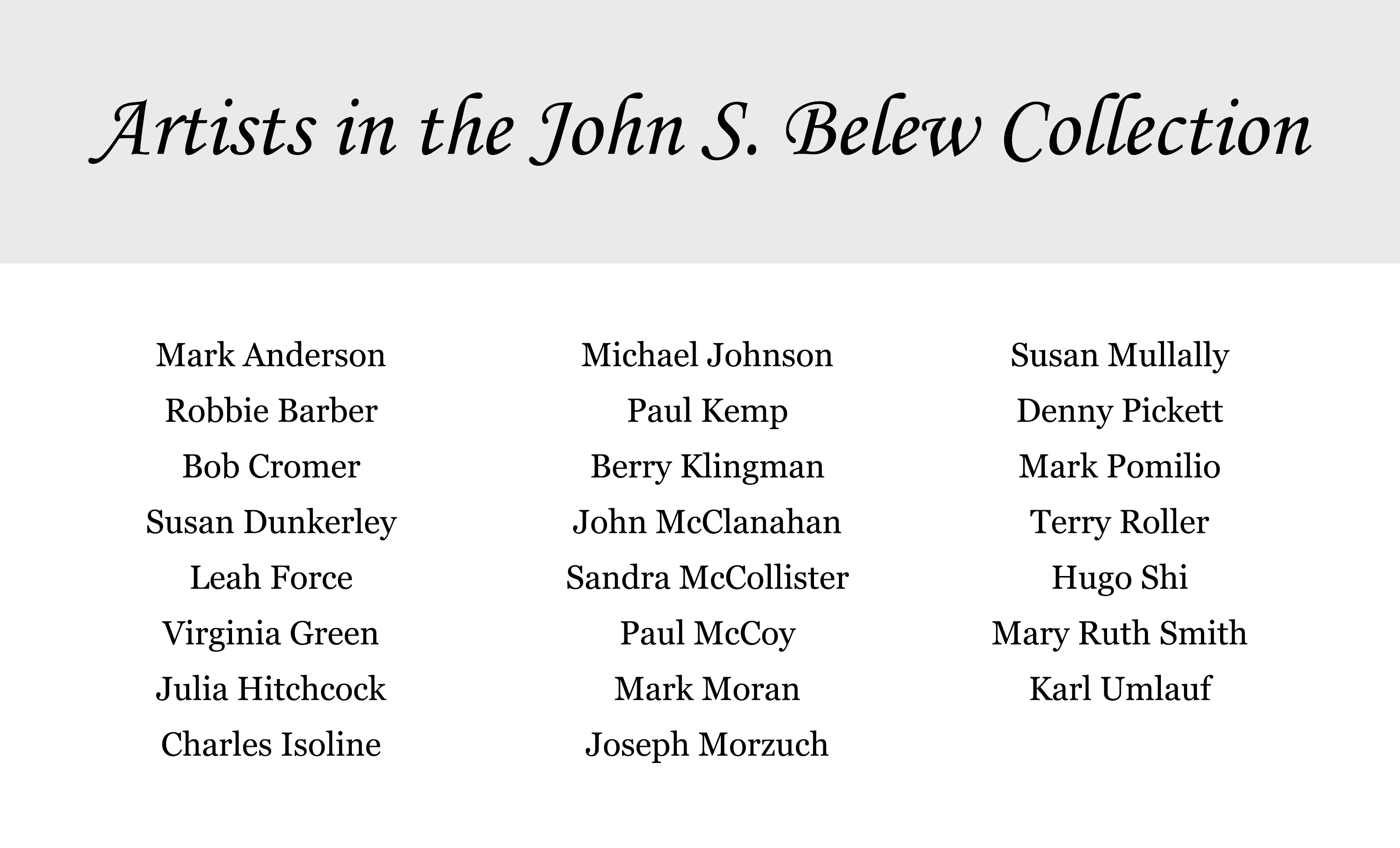 List of artists in the John Belew Collection