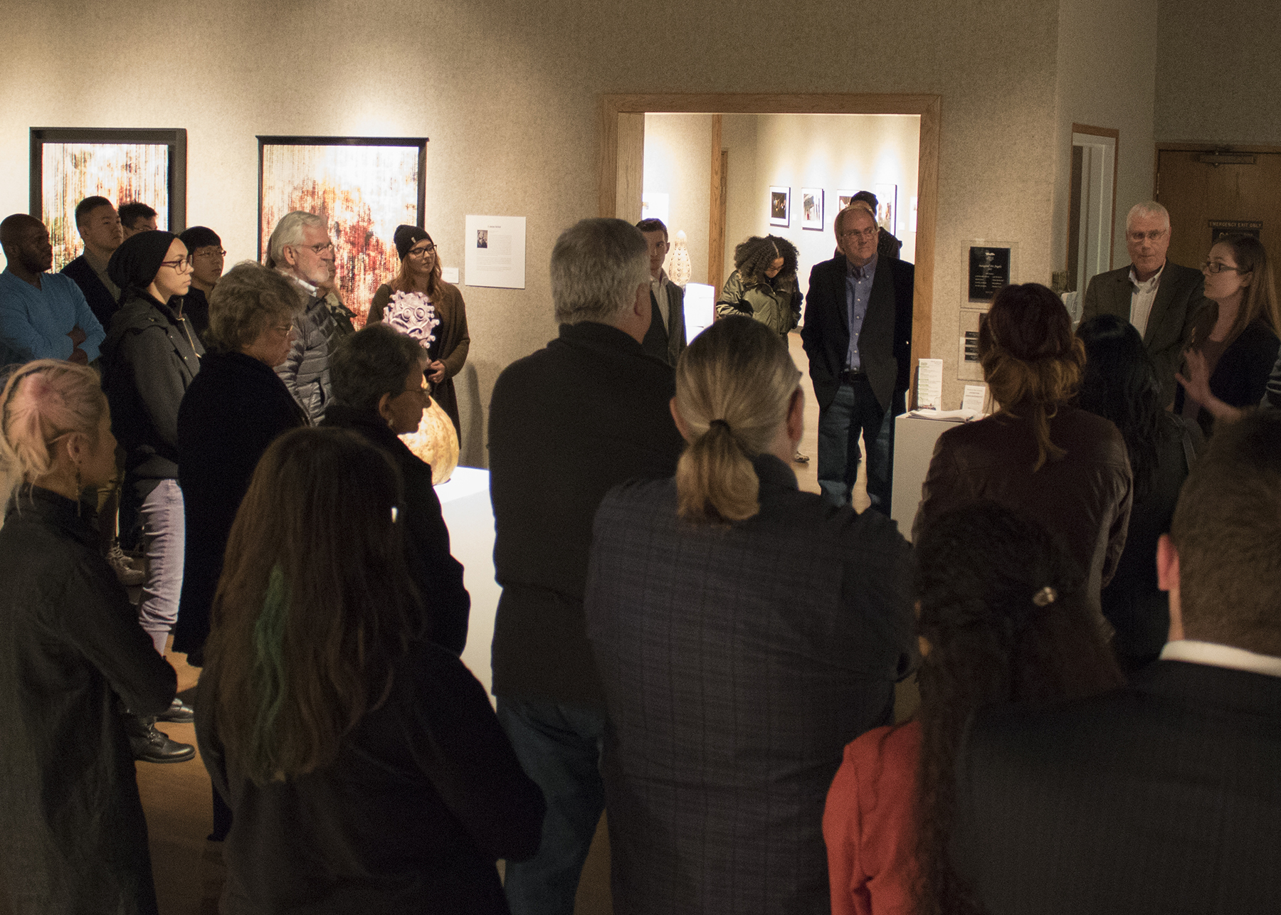 Jan. 21, 2016 - Guests addressed by Art Department Chairman, Professor Mark Anderson, and Martin Museum of Art Director, Allison Chew Syltie.