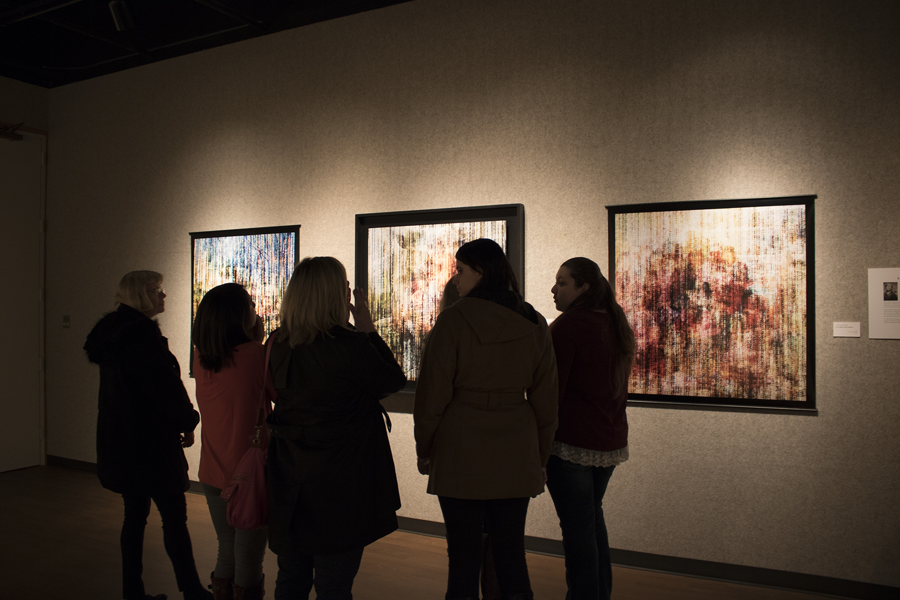Jan. 21, 2016 - Guests viewing the artwork during reception for the Baylor Art Department Faculty Exhibition.