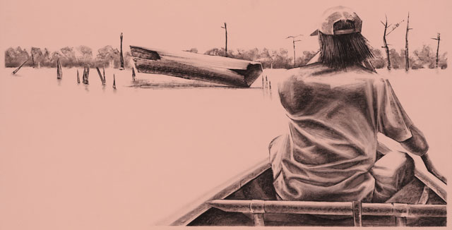 From the Sky, 39x19, Charcoal on Paper, 2014