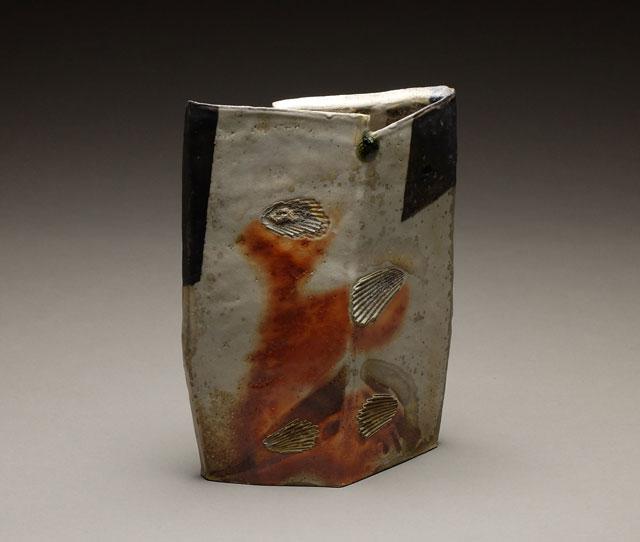 Shield Vase | wood-fired stoneware, 12 x 9 x 3, 2015