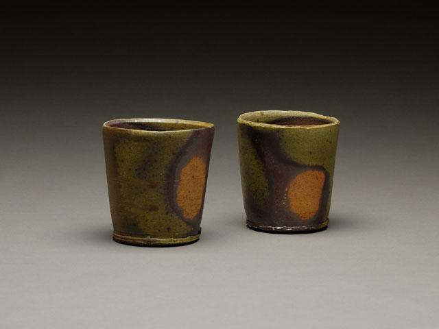 Orangestone Cups | wood-fired stoneware, 4 x 3 x 3, 2014