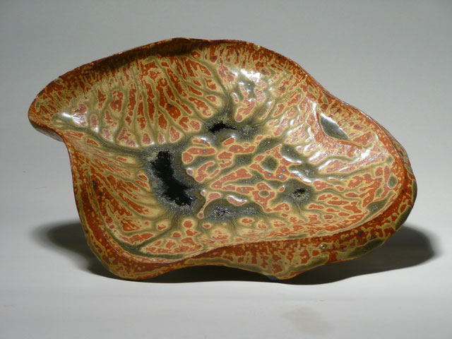 Reduction glazed stoneware, 3 x 12 x 12
