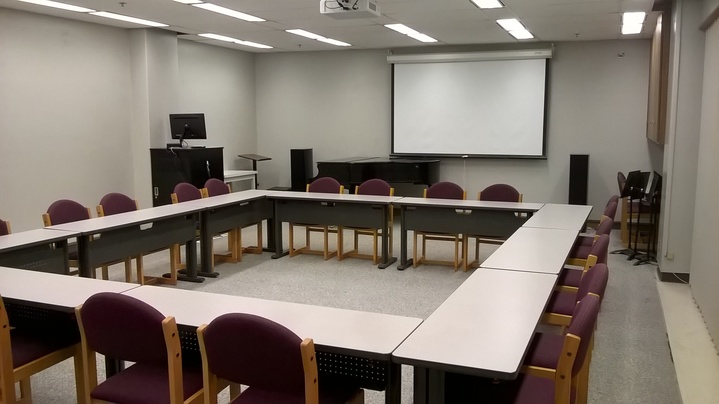 View of conference set up in Crouch Seminar Room