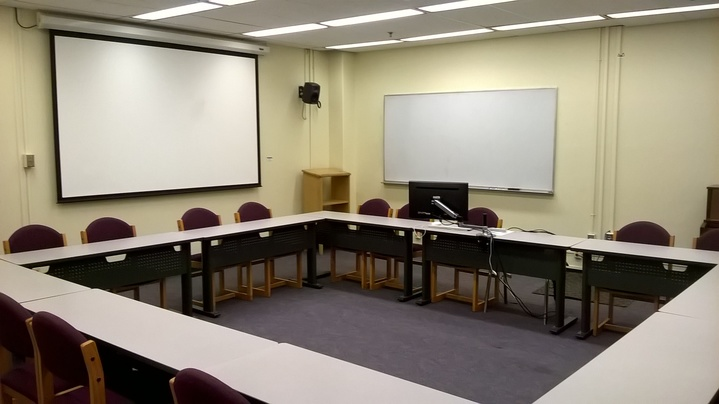 View of conference set up in Crouch Seminar Room 2