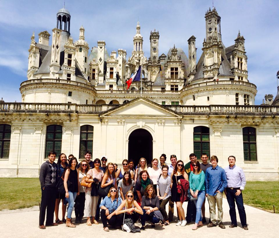 group photo of students on a trip to Paris