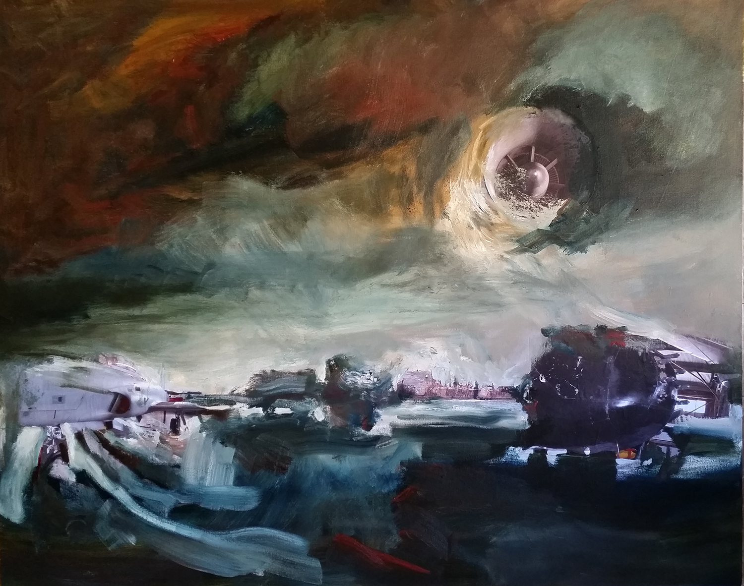 Luna's Surge | Oil and collage on canvas | 48 x 60