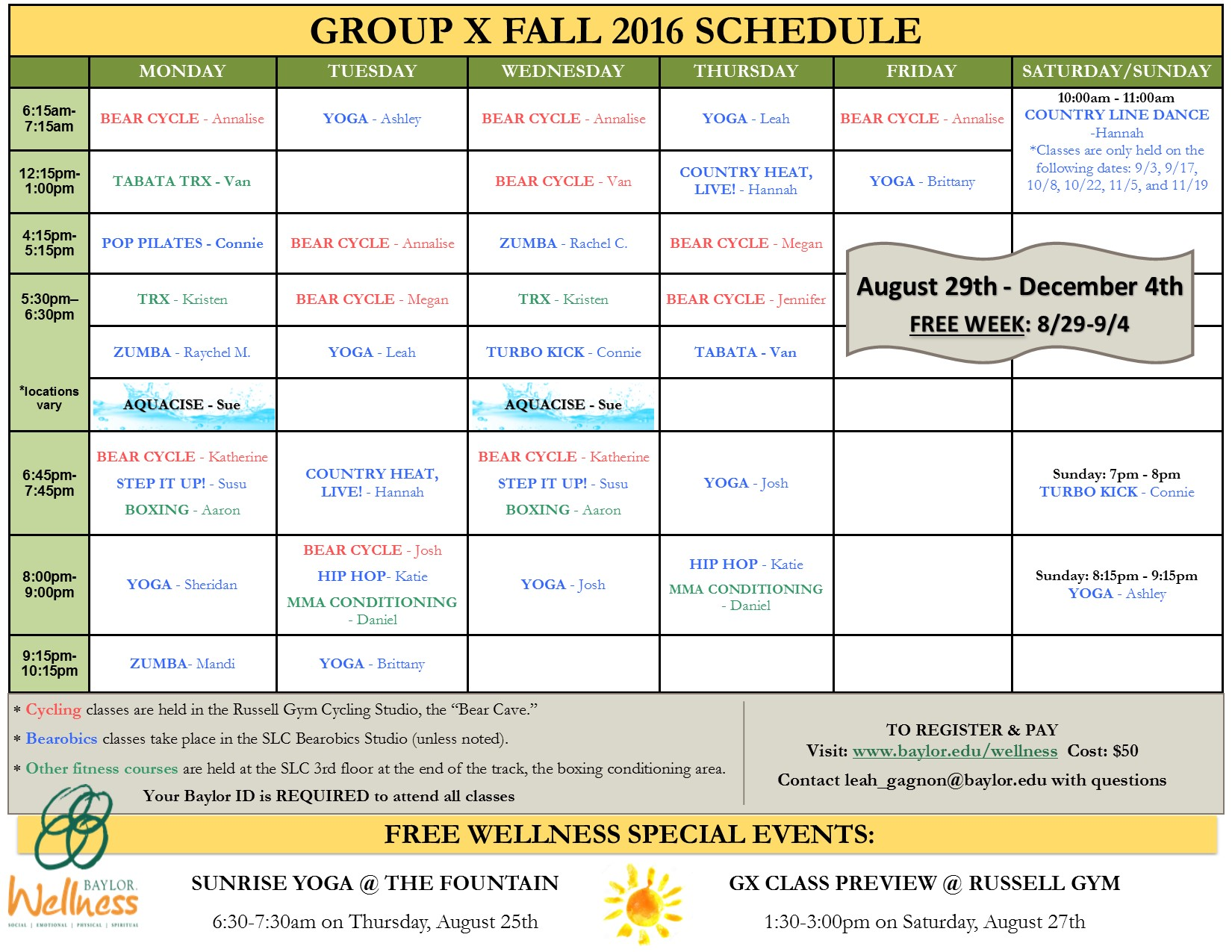 Class Schedule | Wellness | Baylor University