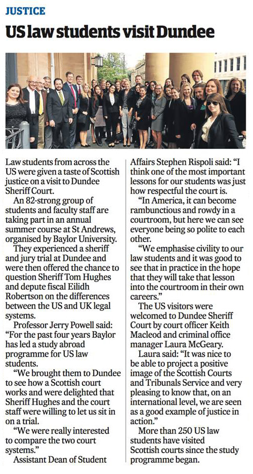 Newspaper front page feature of story about Law Students visiting Dundee
