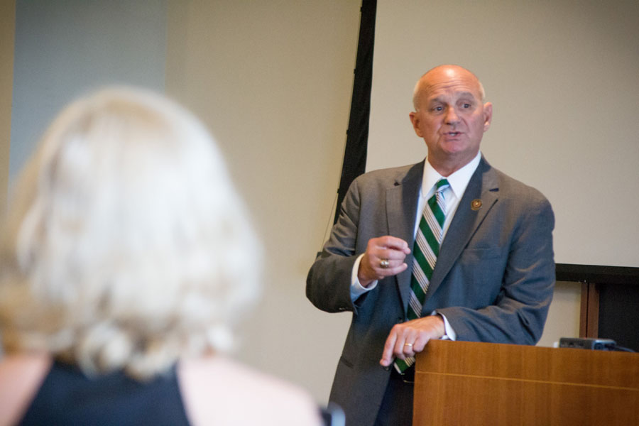 Trey Apffel speaks to students