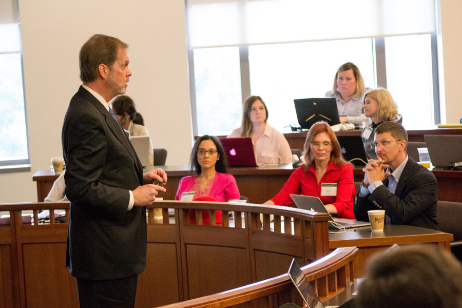 A professor teaches strategies and policies at Baylor Law's Legal Mapmaker Clinic