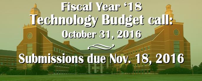 FY18 Budget Call