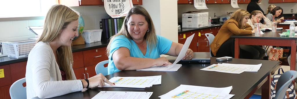 Mentor teacher and student in co-teach training