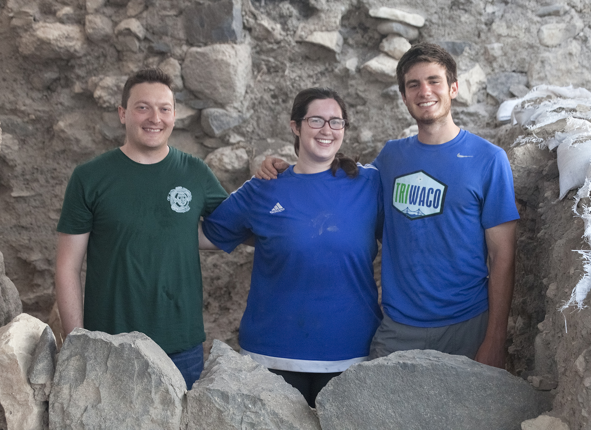 Dr. Nathan Elkins with Art History students in Israel on Excavation - Baylor in the Galilee