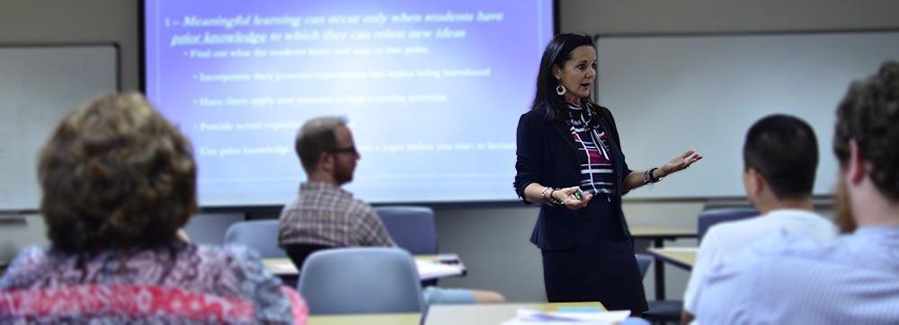 Photo of professor teaching in class
