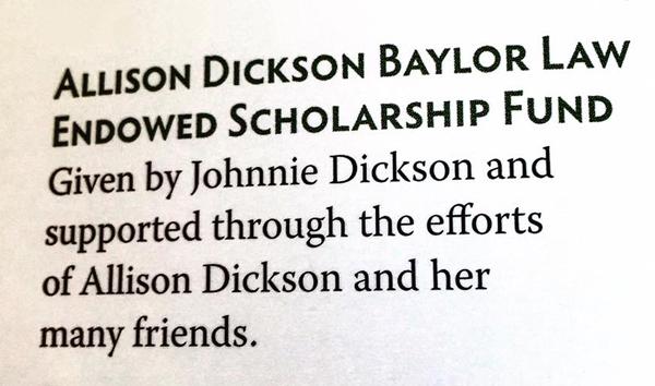 Printout of Allison Dickson's Scholarship Fund
