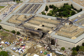 Aerial Photo overlooking the Pentagon after 9/11 damage