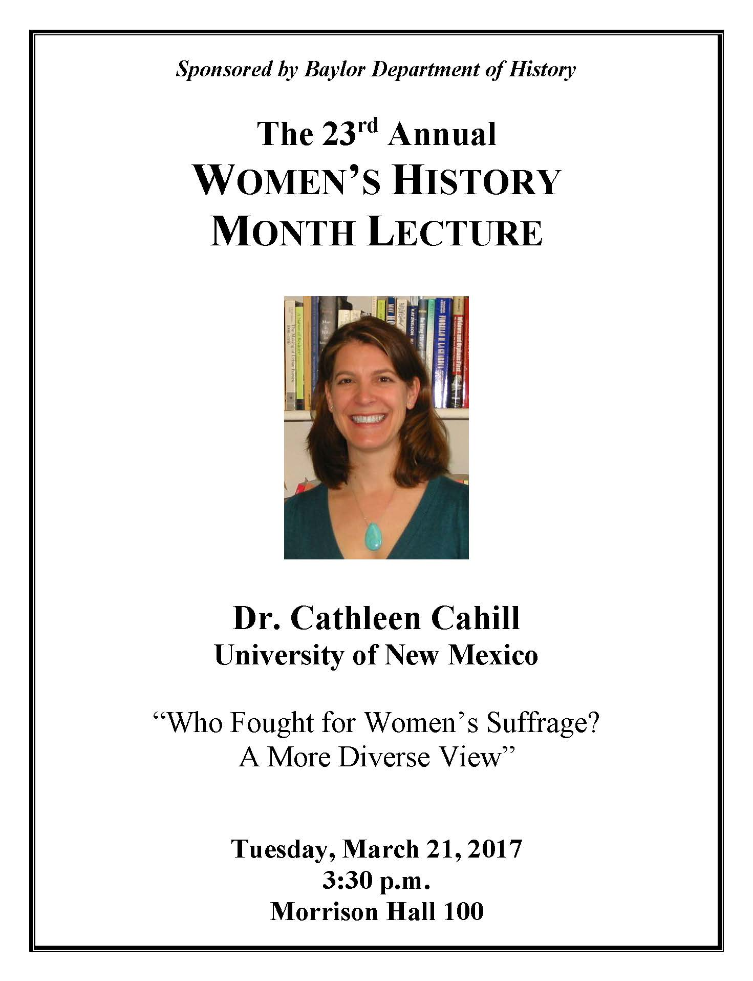 Women's History Month Lecture | History Department ...