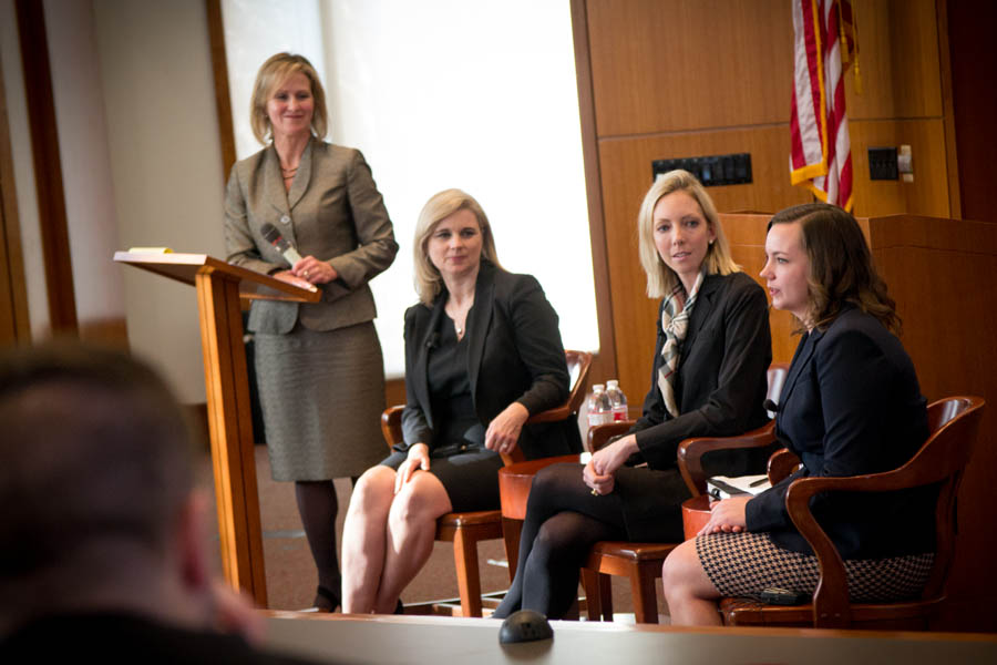 a panel of women lawyers lead a discussion on new paths to leadership roles