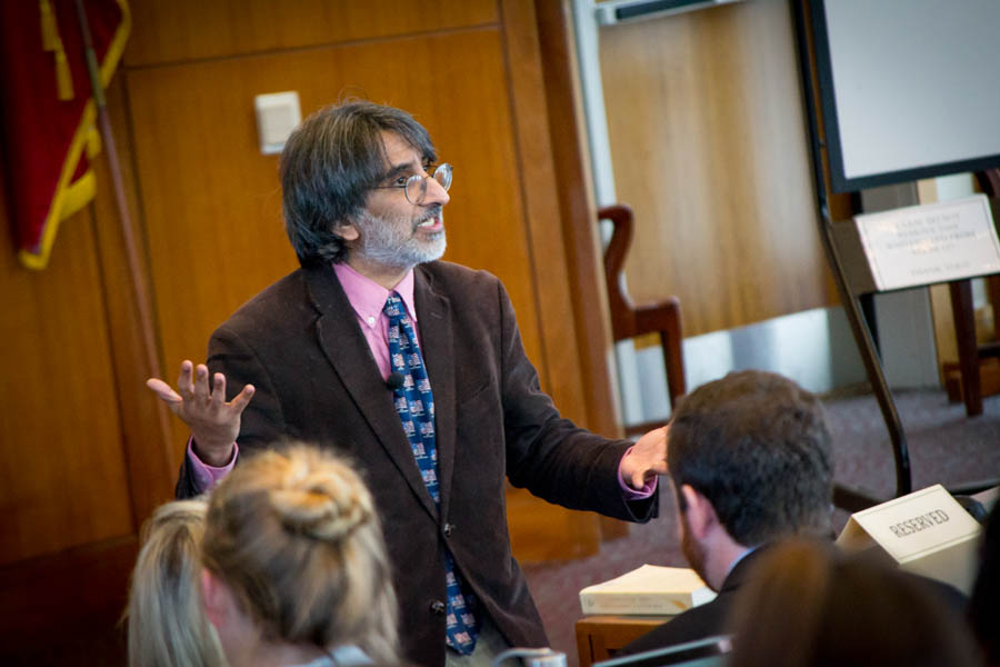 Professor Amar speaks to students directly with intensity