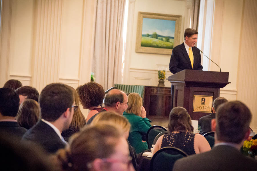Dean Toben delivers a lecture at the Baylor Law Awards