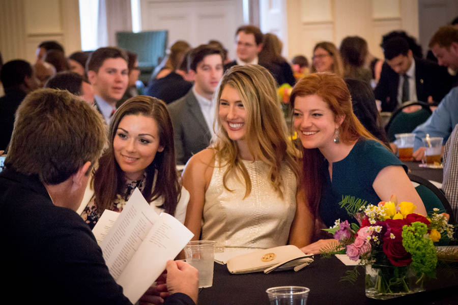 Law Students, dressed up in their Sunday best, gather to celebrate Baylor Law achievements