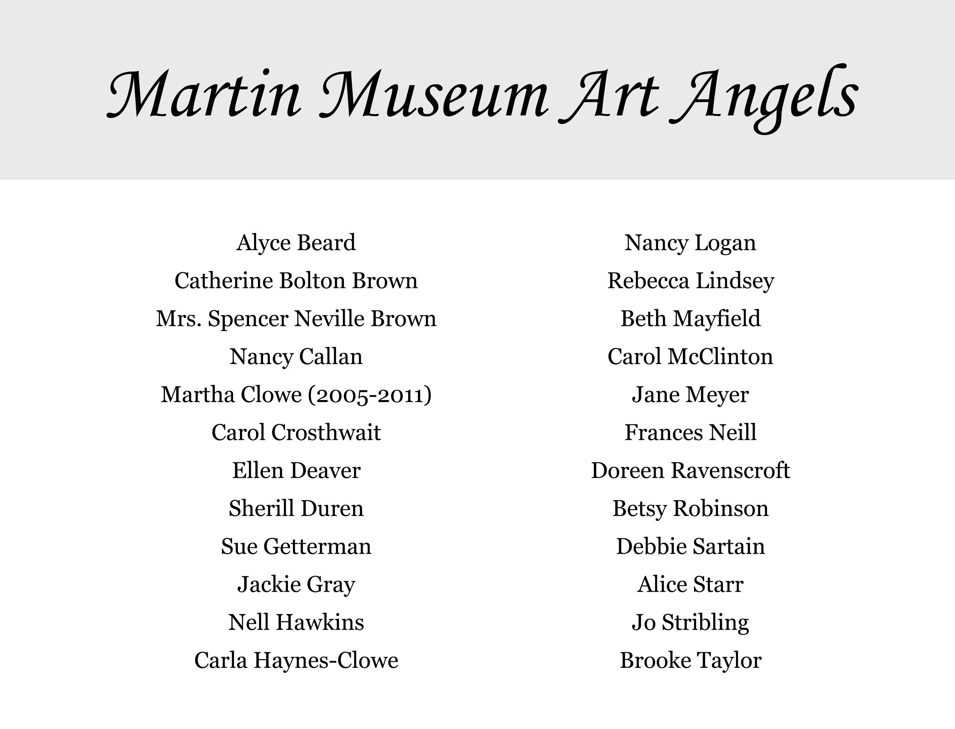 Graphical list of Martin Museum of Art Angels