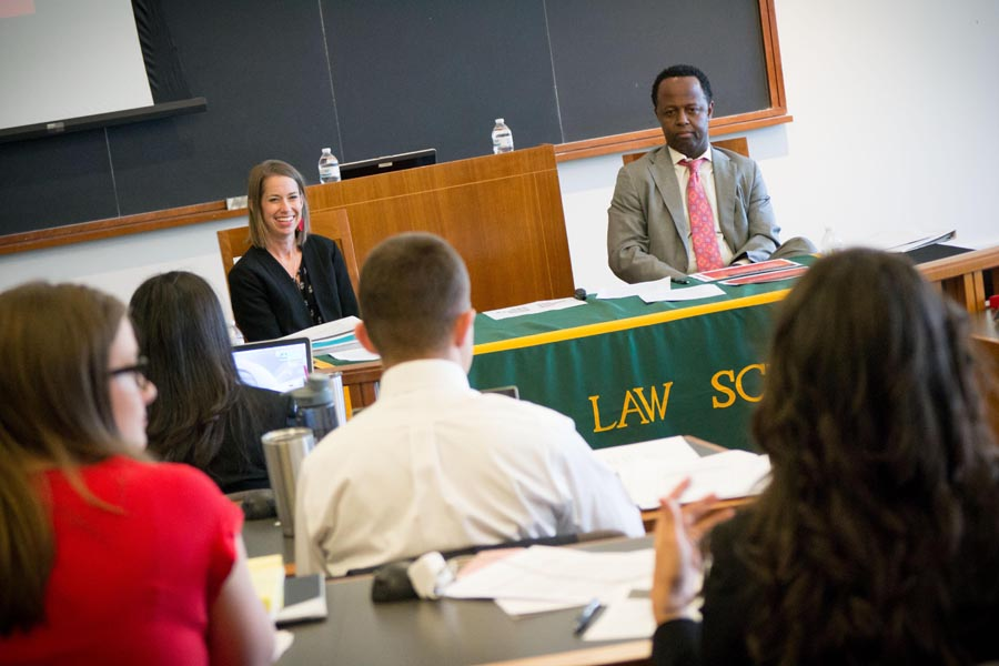 Christina Marshall and Steve Bolden sitting at the front of a classroom