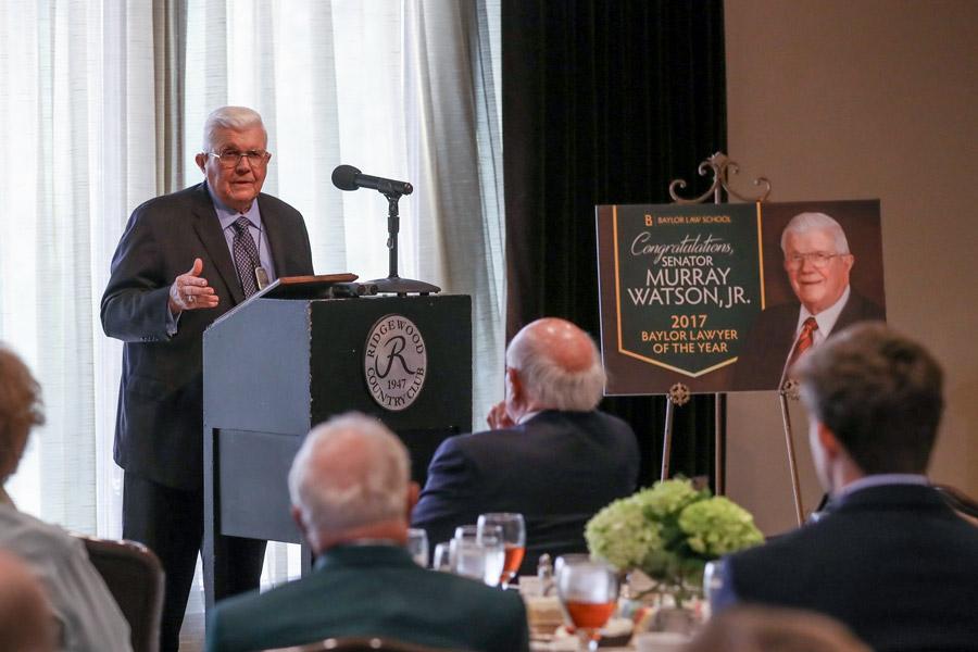 Senator Murray Watson gives remarks at a gathering in his honor