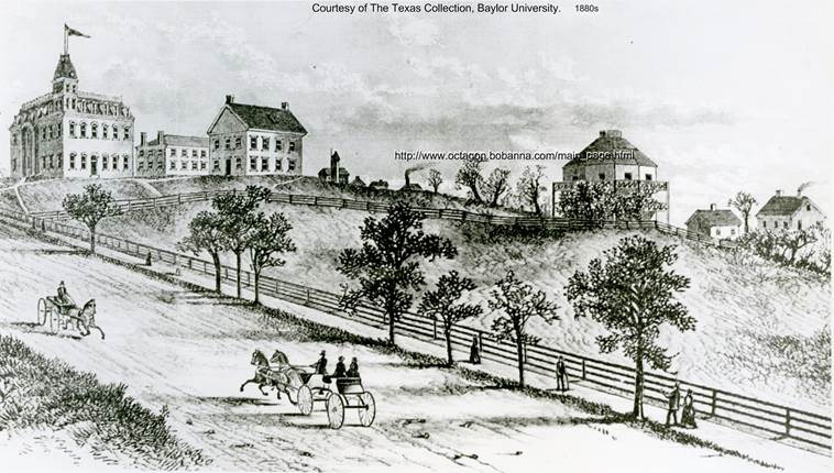 A horse and buggy pass by an early building