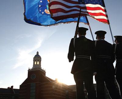 Flag photo on BU campus