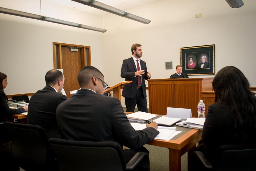 Law student argues before the jury and in front of the judge