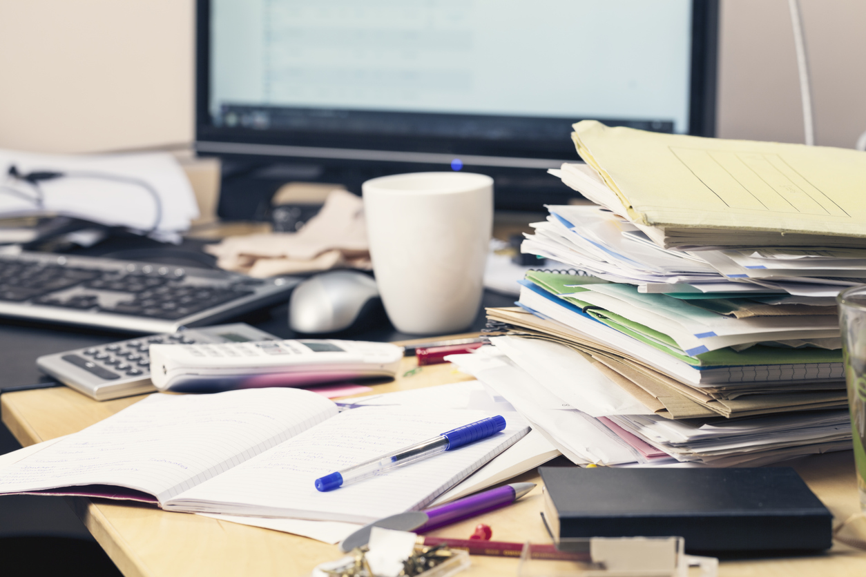 Stock photo of a messy desk