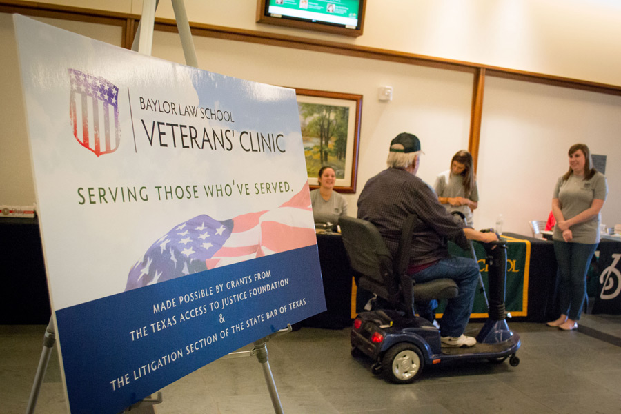 sign marks a legal clinic for veterans