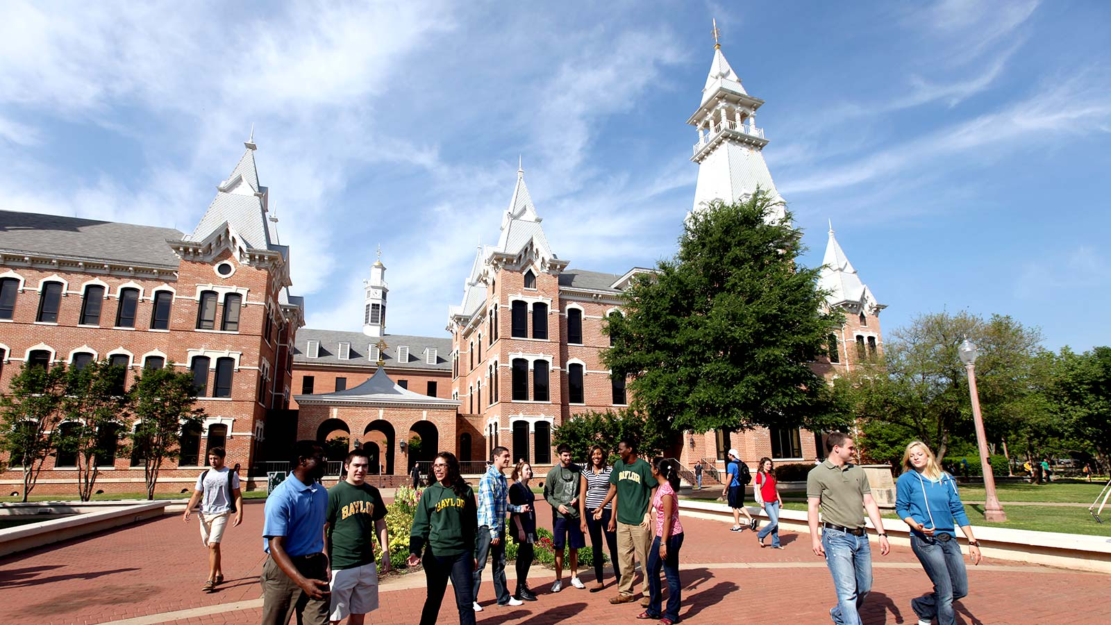 Students gather in the Burleson Quadrangle near the heart of Baylor's campus.