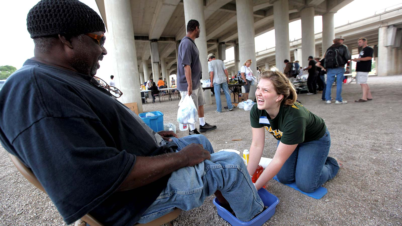 For 20 years, Baylor students have joined with Mission Waco for Church Under the Bridge, a ministry of worship and service with people of diverse backgrounds.