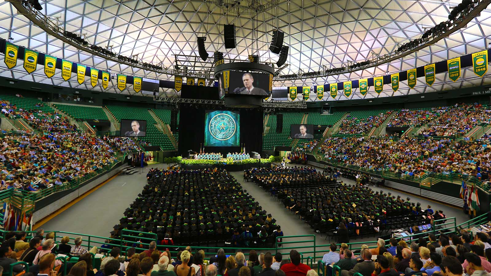The culmination of the Baylor experience is commencement, when students receive their coveted diplomas and are commissioned for worldwide leadership and service.