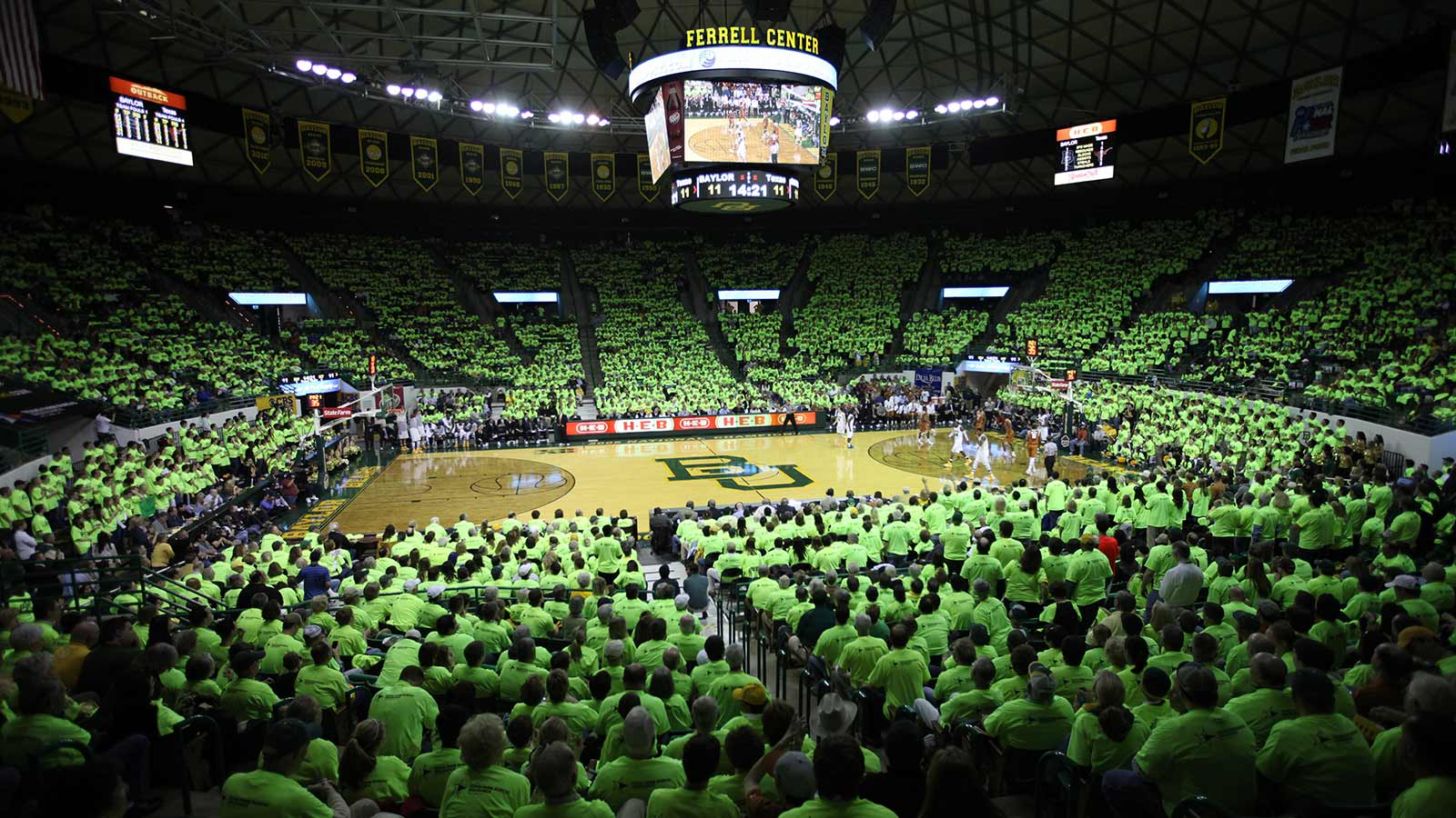Baylor faithful cheer the Bears and Lady Bears to victory in regular and postseason play in the Ferrell Center.