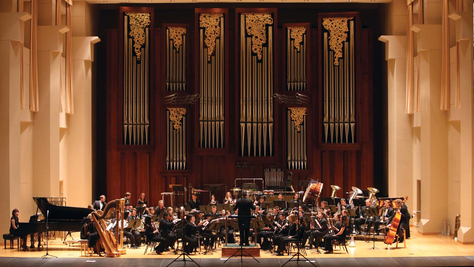 Jones Concert Hall of the School of Music is a majestic, 1,000-seat hall located in the Glennis McCrary Music Building.