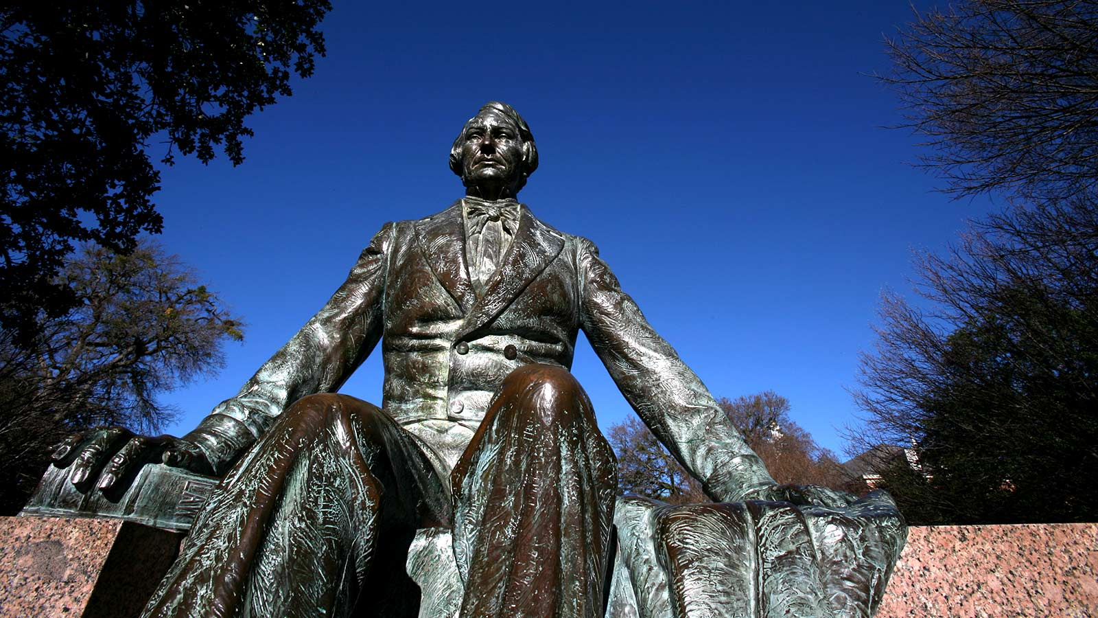 The statue of Judge R.E.B. Baylor was unveiled on Feb. 1, 1939, and and honors the university's namesake.