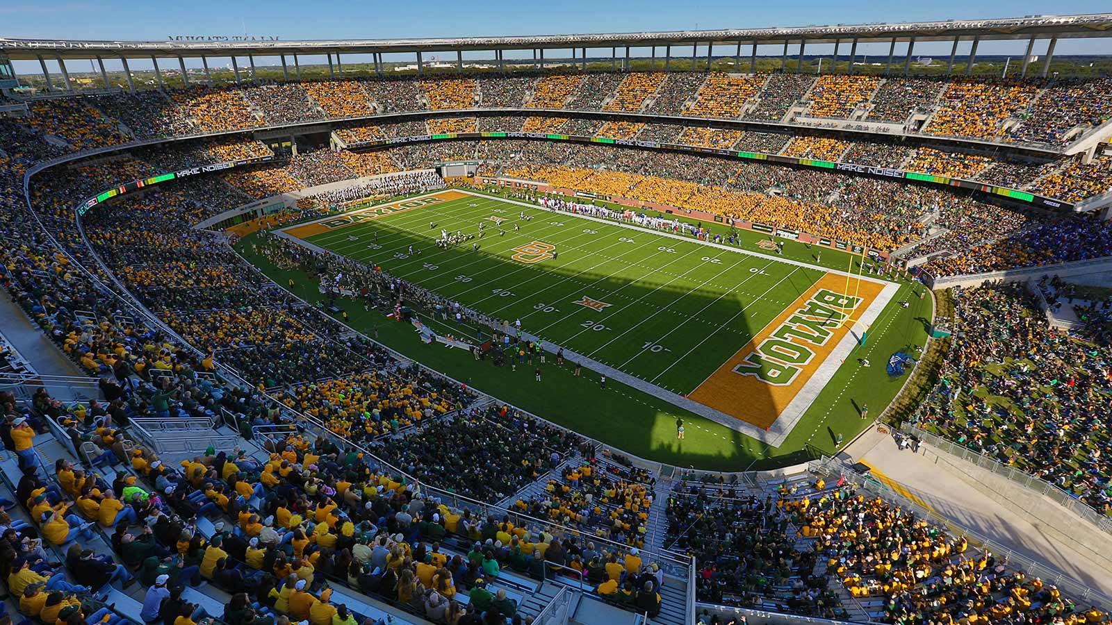 Each season, thousands of green- and gold-clad Bear fans fill McLane Stadium for Big 12 Conference action.