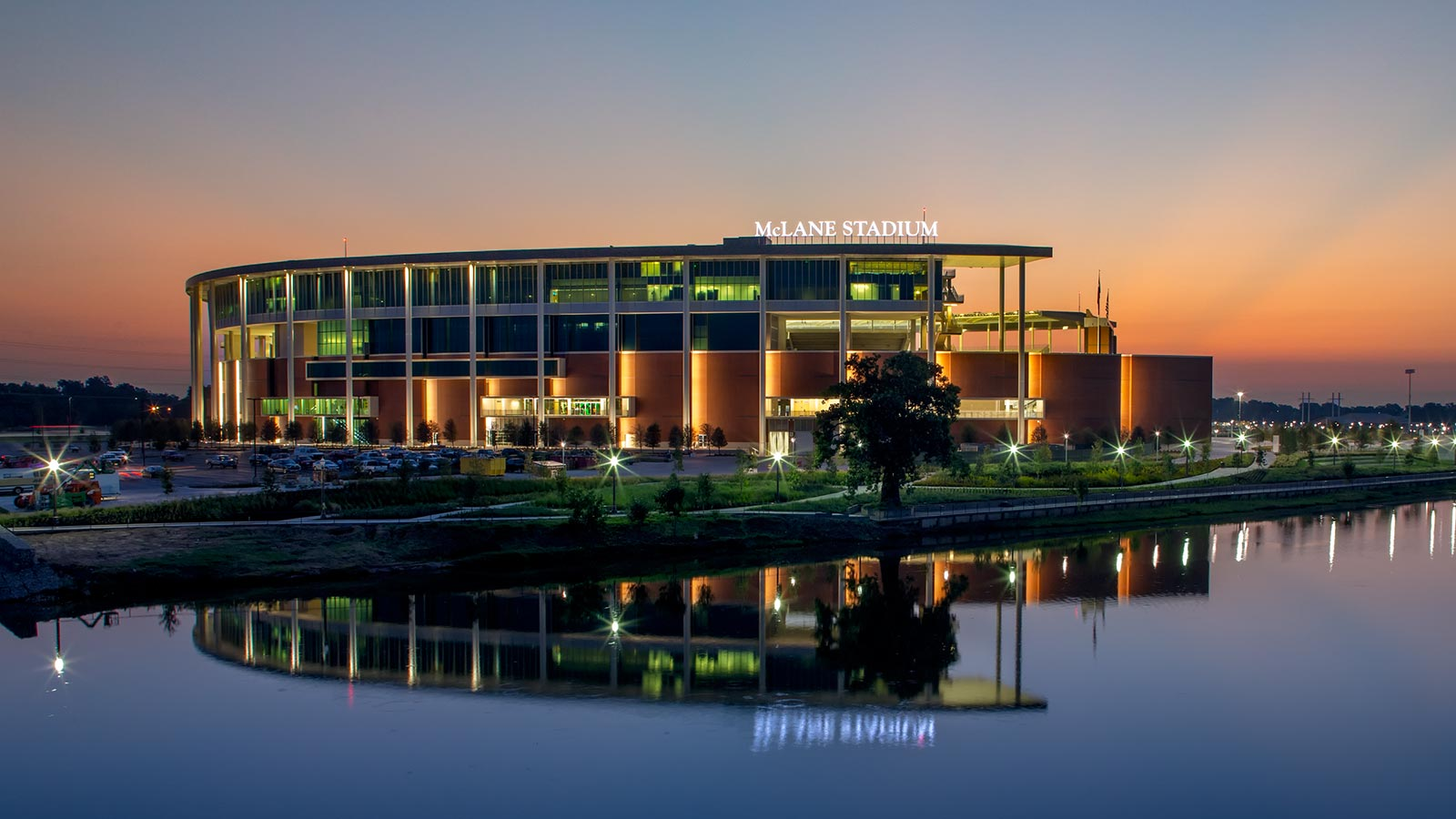 Located on the banks of the Brazos River the 45,000-seat McLane Stadium is home to Baylor Bear football.