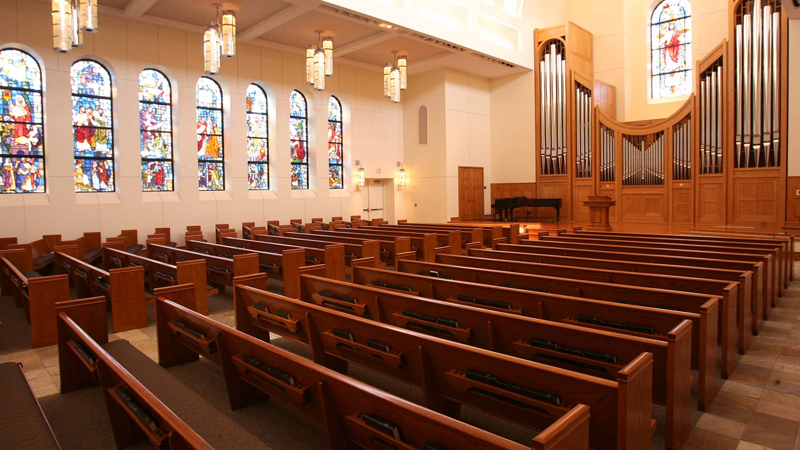 The Paul W. Powell Chapel features stained glass windows illustrating characteristics that enhance the gifts of a person answering God�s call to ministry.